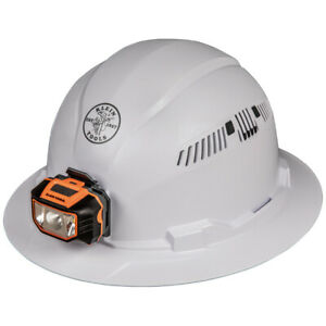 Klein 60407 Hard Hat Vented Full Brim With Headlamp Class C Type 1 white
