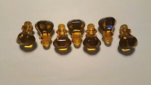 Vintage Lot Of 7 Of Amber Glass Knobs Draw Pulls Restore Repurpose