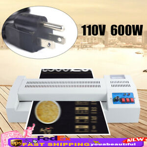 Laminator Machine A3 A4 Rollers System Thermal Hot Cold Film Laminating 600w Usa