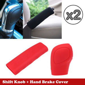 2x Red Car Gear Stick Shift Knob Hand Brake Cover Universal Sleeve Shifter