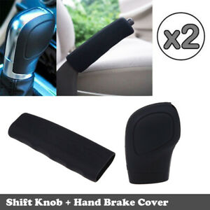 2x Black Car Gear Stick Shift Knob Hand Brake Cover Universal Sleeve Shifter