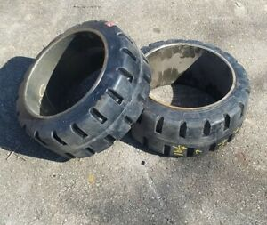 Qty 2 Super Solid Forklift Tires 16 25x7x11 25 Press on Steel Rim Usa Made New