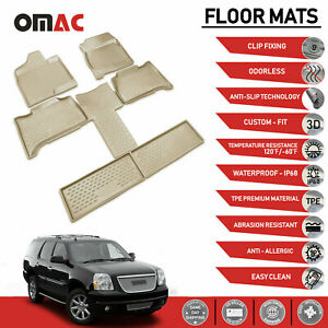 Floor Mats Liner 3d Molded Set Beige Fits Gmc Yukon 2011 2014