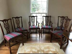 Set Of 6 Hickory Chair Co Massachusetts Chippendale Mahogany Dining Chairs