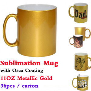 11oz Blank Metallic Gold Sublimation Mug Transfer Printing With Orca Coating