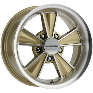 4 Vision V324 Dazzler 15x6 5x4 75 0mm Gold Machined Wheels Rims 15 Inch