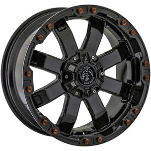 4 Panther Offroad 678 20x9 6x4 5 6x5 12mm Gloss Black Wheels Rims 20 Inch