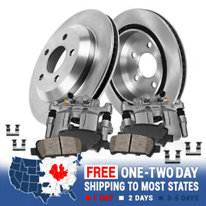 Rear Brake Calipers Rotors Ceramic Pads Kit For 2001 2006 Mitsubishi Montero