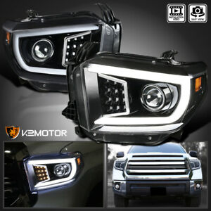 For 2014 2020 Toyota Tundra Led Drl Bar Tube Projector Headlights Jet Black Pair