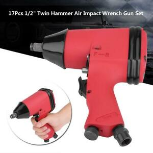 17pcs set 1 2in Twin Hammer Electric Air Impact Wrench Gun W Sockets Tools Kit