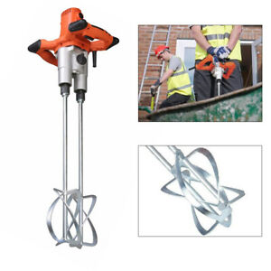 Paint Cement Grout Mixers 2 Speed Concrete Mortar Mixer Stirring Tool 1600w