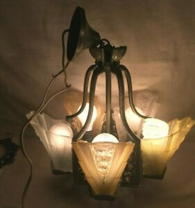 Antique 1930s Art Deco Slip Shade Ceiling 5 Light Fixture Chandelier Dr Pepper