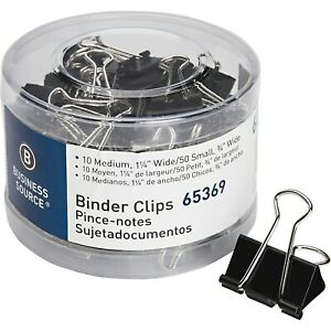 Business Source 65369 Small medium Binder Clips Set 60 pack Black