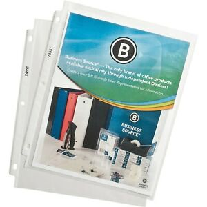 Business Source 74551 Top loading Poly Sheet Protectors 11 X 9 100 pk