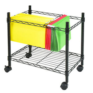 Single Tier Mobile File Cart Metal Rolling Office Paper Holder Organizer