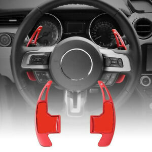 Red Steering Wheel Shift Paddle Shifter Trim Cover For Ford Mustang 2015 2017