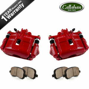Front Red Brake Calipers Pads For Acura Rsx Type S Honda Civic Sedan Si S2000