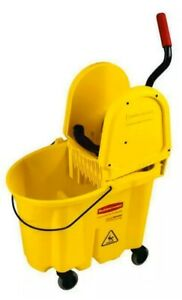 Rubbermaid Commercial 7577 88 Wavebrake 35 quart Mop Bucket Wringer Yellow New