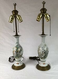 Pair Of Vtg Hand Painted Floral Porcelain Vase Table 22 Lamps Dual Pull Chain