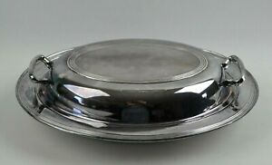 F B Rogers Silverplate Silver Plate Serving Dish With Divided Glass Insert