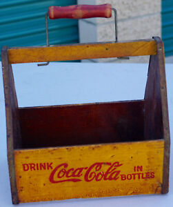 Antique Coca Cola Coke Pause Go Refreshed Wood Crate Caddy Carrier Soda Wings