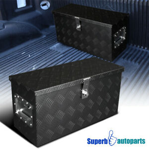 24 x10 x12 Truck Aluminum Black Tool Box Storage Trailer Pickup W lock Handle