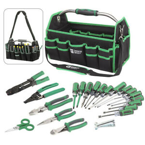 22 Piece Electrician Tool Set With Bag Pocket Cable Ripper Stripper Screwdriver