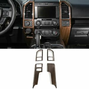 Wood Grain Inner Accessories Central Control Frame Trim For Ford F150 2015 2017