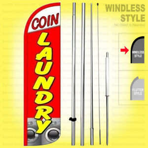 Coin Laundry Windless Swooper Flag Kit 15 Tall Laundromat Banner Sign Rq h