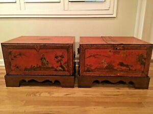 19th C Chinoisiere Painted Tole Metal Trunk Chest