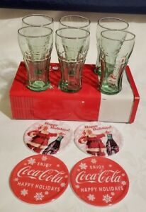 Vintage Coca Cola Drinking Glass Set in Tin Set of 6 Glasses and 4 Coaster Set