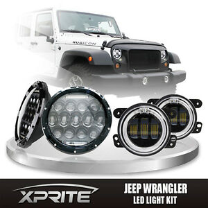 7 75w Cree Led Headlights Drl With Fog Light Amber Halo Combo For 07 18 Jeep