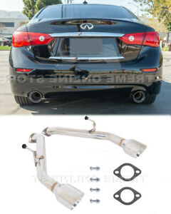 Q50 Muffler Delete Exhaust For 14 Up Infiniti Axle Back Double Wall Dual Tips