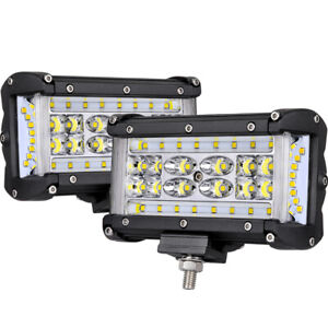 2pcs 6in Quad Row Side Shooter Led Lights Spot Flood Work Driving Offroad 4wd 5