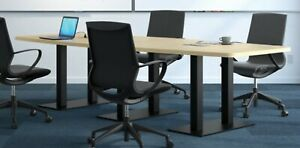 12 Foot Conference Table Has Grommets And Black Metal Legs White Gray 8 Colors