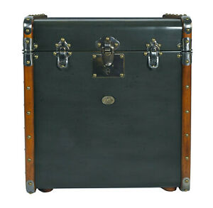 Stateroom End Table Petrol 21 Steamer Travel Trunk Wood Chest Storage Furniture