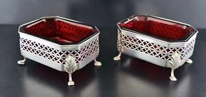 1899 Gorham For Foster Co Sterling Silver Footed Cranberry Glass Salt Cellars