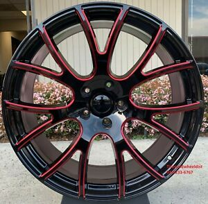 24 Hellcat Fit Dodge Ram Gloss Black Red Milled Wheels With Tires Ram 1500 New