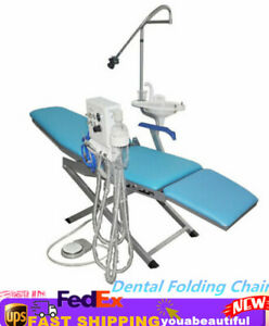 Dental Folding Chair Moblie Led Light Turbine Unit Weak Suction 4h Portable