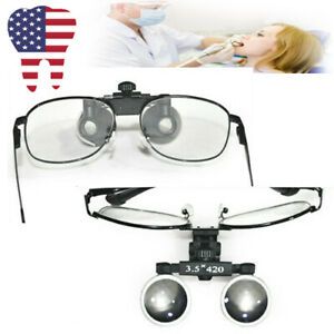 Dental Surgical Medical Magnifier Loupes 3 5x420mm Optical Glass Head Strap Us