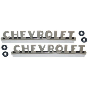 1950 1951 1952 Chevrolet Truck Hood Side Emblem Pair Chrome W Black Accents