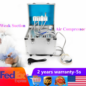 Portable Dental Unit system Metal Mobile Delivery Rolling Case air Compressor 4h
