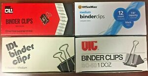 New Medium Binder Clips Boxes Of 12 1 25 Capacity 5 8 Various Brands