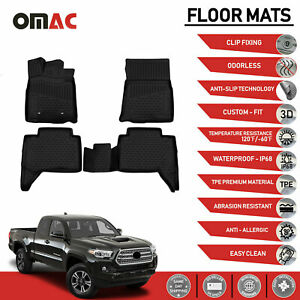 Floor Mats Liner 3d Molded Black Fits For Toyota Tacoma Double Cab 2016 2020