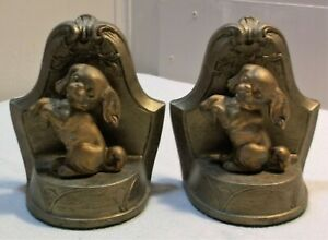 Nuart Creations Metal Bookends Dogs On Hind Legs Gold Tone Ny Circa 1920 S 30 S