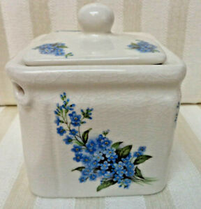 Square Ceramic Teapot With Forget Me Not Flowers