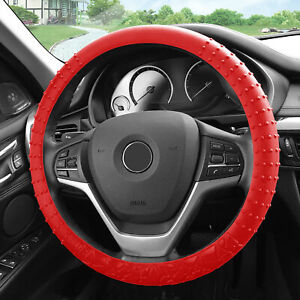 Silicone Steering Wheel Cover Nibs Sturdy Massage Grip Red For Auto