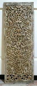 Antique Thai Hand Carved Silver Gold Wood Panel Masterful Craftsmanship 36x13