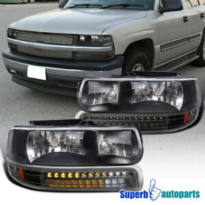 For 1999 2002 Silverado 1500 2000 2006 Tahoe Black Headlights Led Bumper Lamps