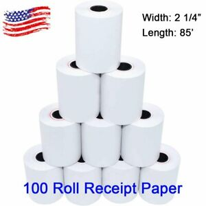 100 Roll 2 1 4 X 85 Thermal Paper Credit Card Cash Register Pos Receipt Paper